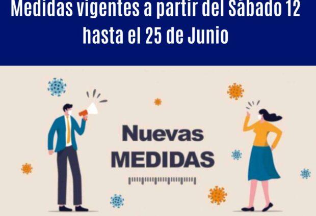 Medidas vigentes a partir del sábado 12 de junio hasta el viernes 25 de junio
